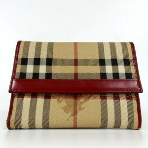 Burberry Nova Check Plaid  Red Leather Wallet